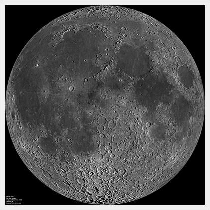 nearside of Moon, by Lunar Reconnaissance Orbiter