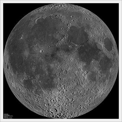 nearside of Moon, by Lunar Reconnaissance Orbiter