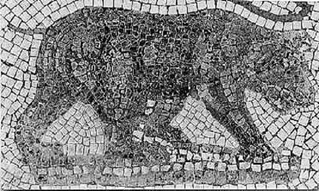 Mosaic of the extinct atlas bear.