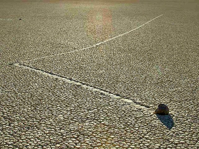 A view of a rock sliding in Racetrack Playa.