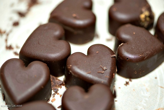 Chocolate-covered peanut butter hearts