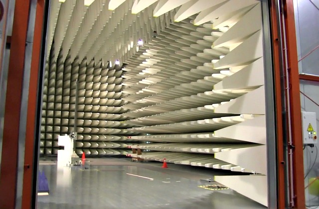 A large drive-in EMC RF anechoic test chamber.