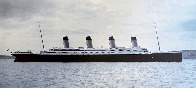 The Titanic pictured in Cobh Harbour, 11 april 1912