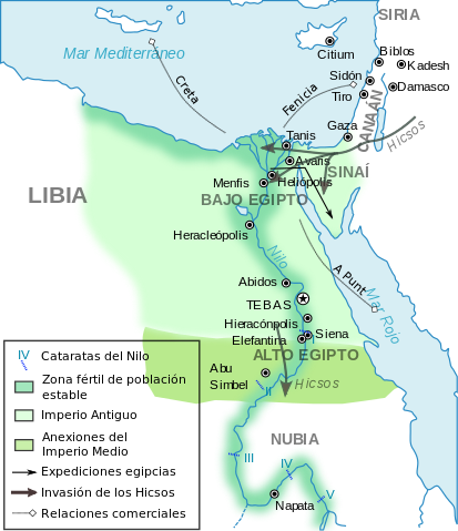 Ancient Egypt old and middle kingdom map