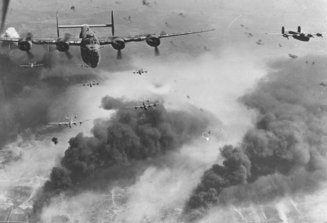B-24D's fly over Polesti during World War II
