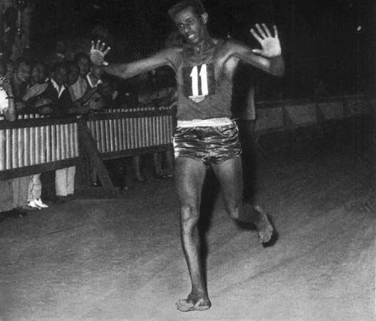 Bikila near the finish line at the 1960 Olympics