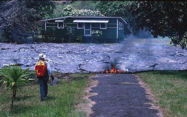 Kalapana house destroyed by lava