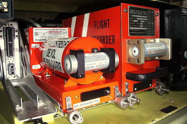 A Flight Data Recorder (left) and Cockpit Voice Recorder (right)