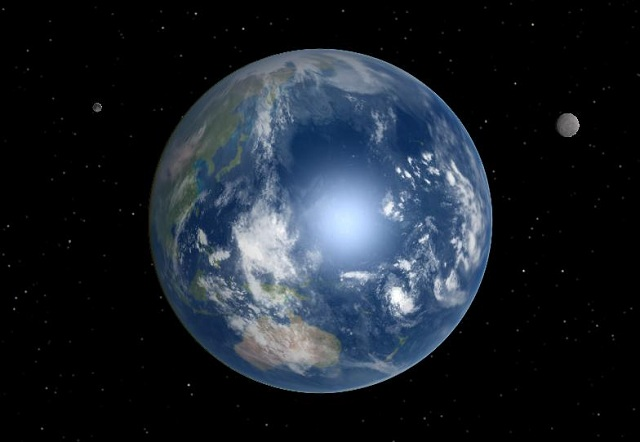 Artist's conception of Earth with two moons.