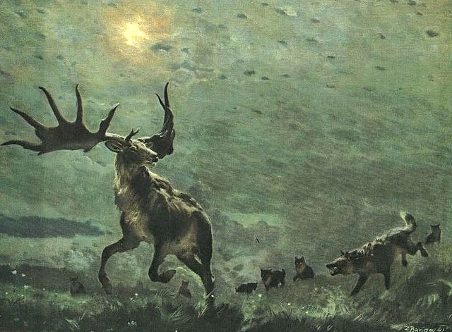 Irish_Elk_pursued_by_Dire_Wolves_painting