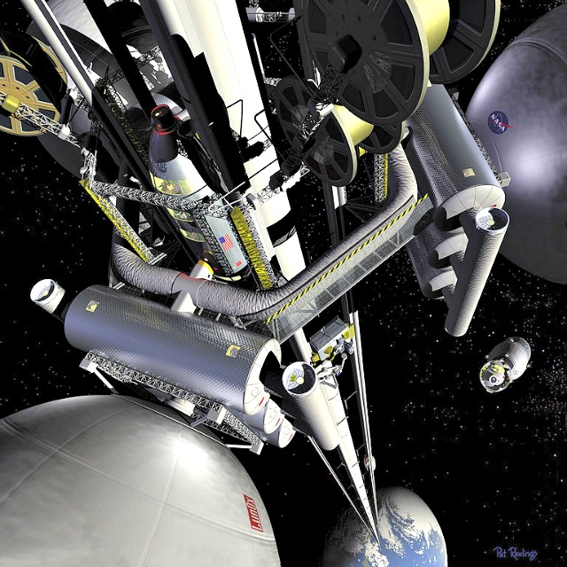 Artist concept: Space Elevator. Image by NASA