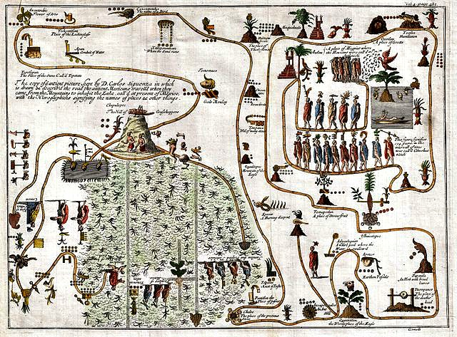 1704_Gemelli_Map_of_the_Aztec_Migration_from_Aztlan_to_Chapultapec_-_Geographicus_-_AztecMigration-gemelli-1704