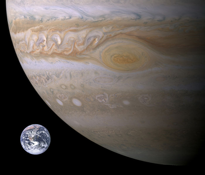Jupiter and Earth